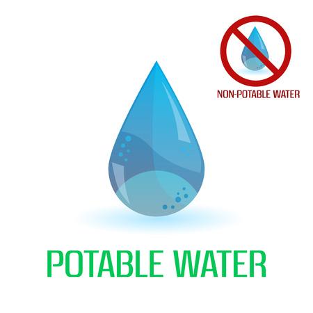 potable: potable and non-potable water blue symbols  Illustration