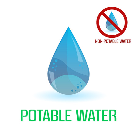 drinkable: potable y agua no potable s�mbolos azules