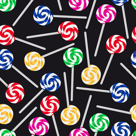 lick: colorful sweet lollipops seamless dark pattern eps10