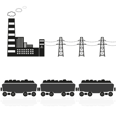 coal plant: coal power plant and train with coal eps10 Illustration