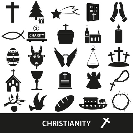christianity religion symbols vector set of icons eps10 Illustration