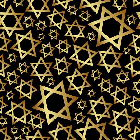 gold star of David dark religion seamless pattern eps10 Illustration