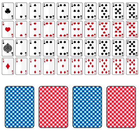 Jeu de cartes à jouer de l'as au dix eps10 Banque d'images - 42859194