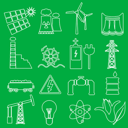 edison: electricity and enegry symbol outline icons set eps10