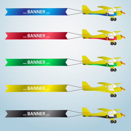 air plane: various colors vector small airplane with banner eps10