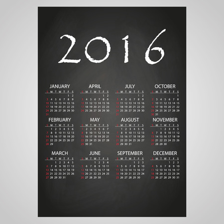 six year old: 2016 wall calendar white text on black board