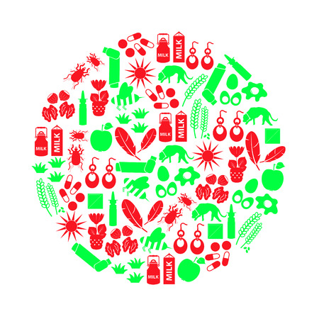 allergy and allergens red and green icons set
