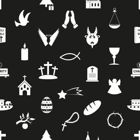 christianity religion symbols black and white seamless pattern