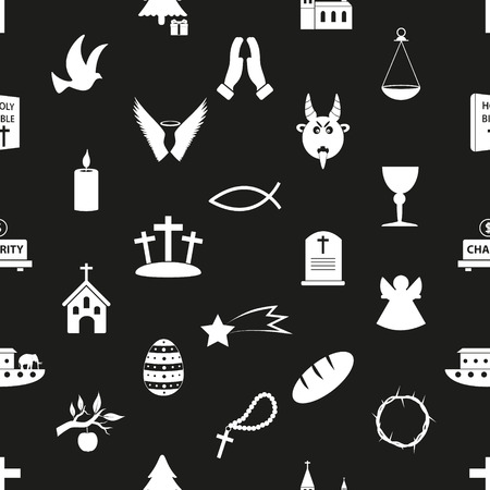 christianity religion symbols black and white seamless pattern