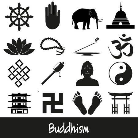 buddha lotus: buddhism religions symbols vector set of icons