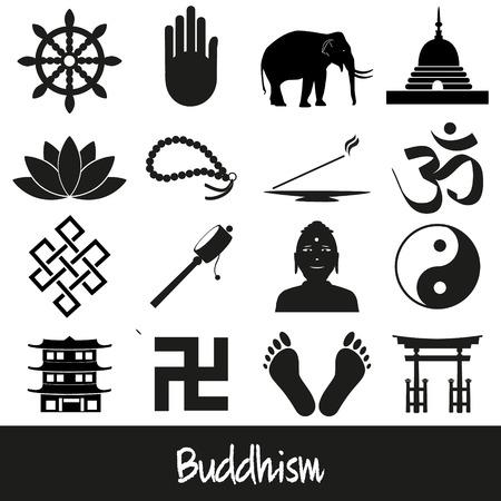 flor de loto: budismo religiones conjunto de s�mbolos de vector de iconos Vectores