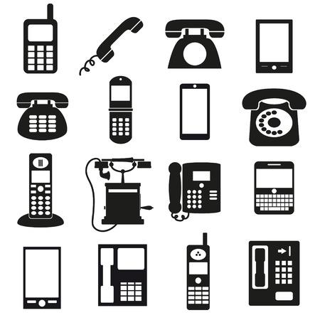 cabina telefonica: varios s�mbolos de tel�fono negro y los iconos establecidos