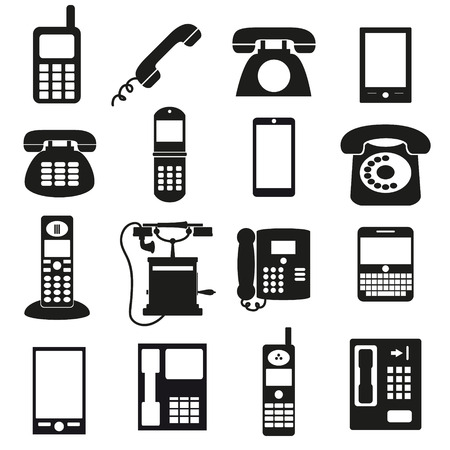 cell phone booth: various black phone symbols and icons set