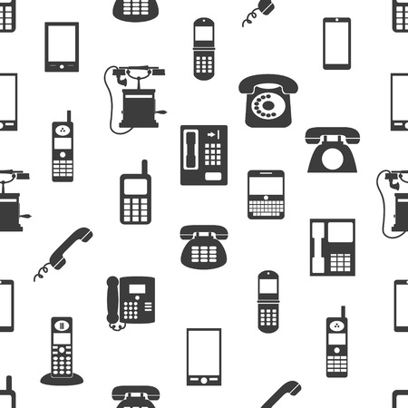 cell phone booth: various phones symbols and icons seamless pattern Illustration