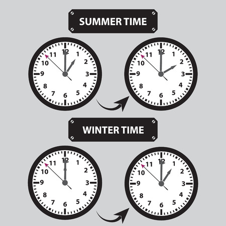 shifting: summer and winter time shifting icons Illustration