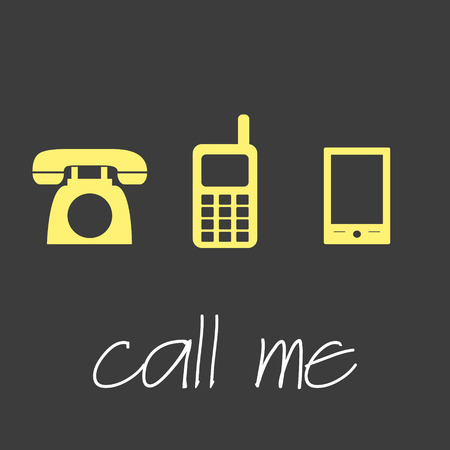 call me: call me with various telephone symbols simple banner Illustration