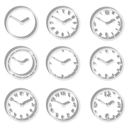 watchmaker: simple watch dials 3d style icons set  Illustration