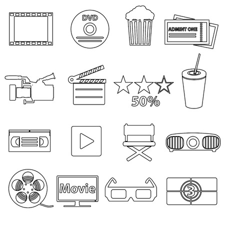 movie and cinema vector simple outline icons set