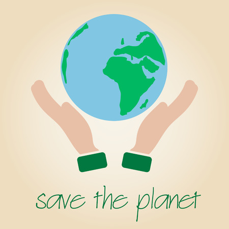 biomass: save the planet Earth symbol globe and human hands   Illustration