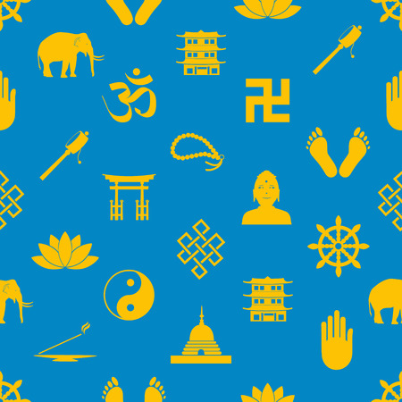 buddhism: buddhism religions symbols vector icons seamless pattern eps10 Illustration