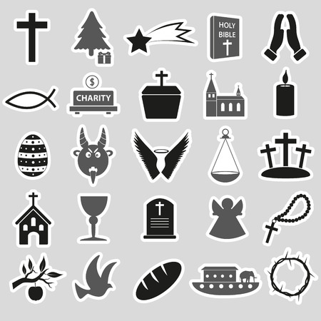 noe: christianity religion symbols vector set of stickers eps10