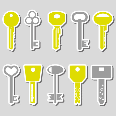key: various color keys stickers for open a lock eps10