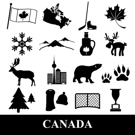 canada country: canada country theme symbols stickers set eps10