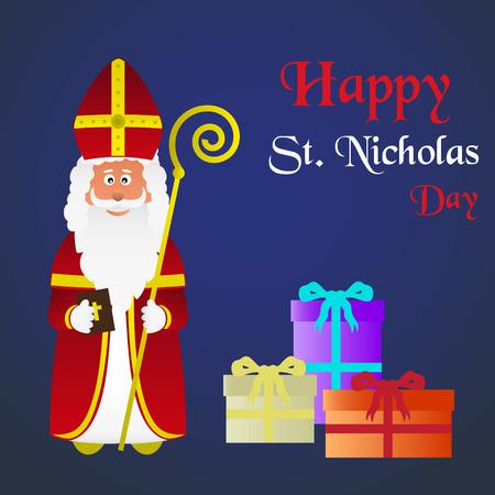 saint nicholas: colorful vector saint Nicholas character holiday eps10