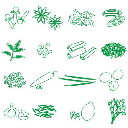 nutmeg: spices and seasonings outline icons set eps10 Illustration