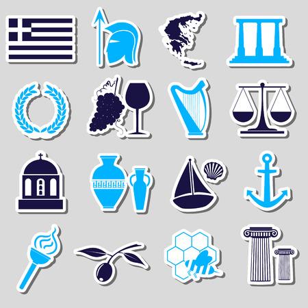 cruet: greece country theme symbols and stickers set eps10