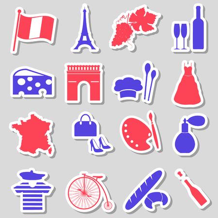 france: france country theme symbols stickers set eps10 Illustration
