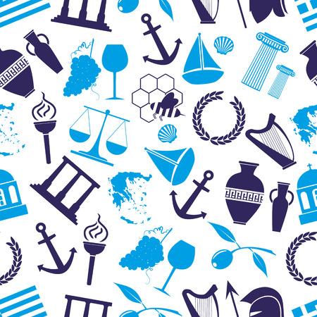 cruet: greece country theme symbols seamless blue pattern eps10