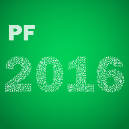 pf: green happy new year pf 2016 from little snowflakes eps10