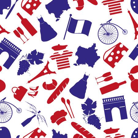프랑스 국가 테마 기호 원활한 패턴 eps10