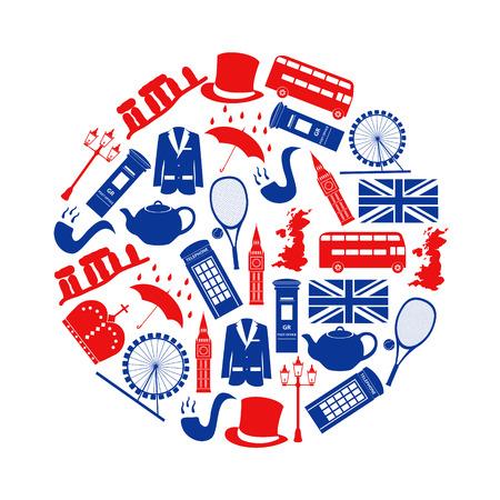 corona reina: Reino Unido símbolos temáticos país e iconos en círculo eps10 Vectores