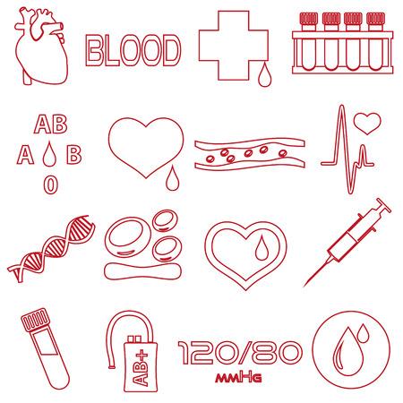 outline red: simple blood outline red vector icons set eps10 Illustration