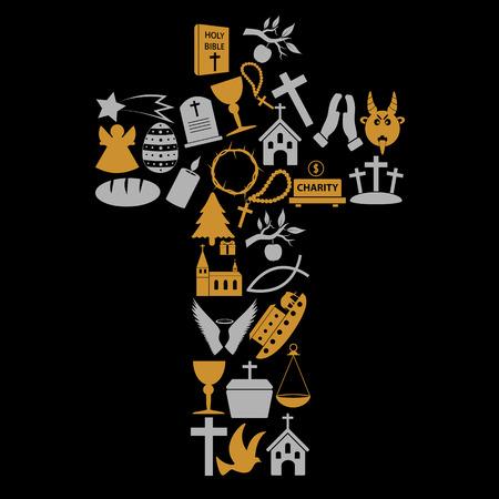 cristianismo: cristianismo religi�n s�mbolos en gran eps10 cruz
