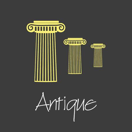 archaeological: antique column symbols simple business banner eps10