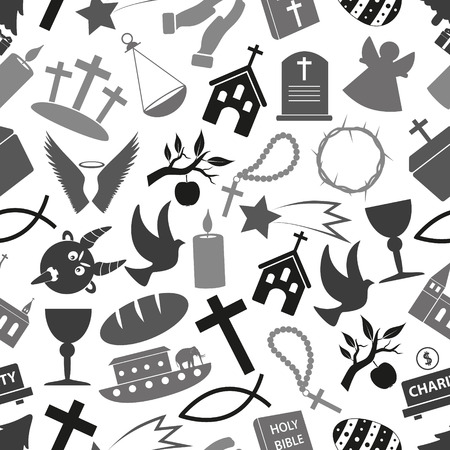 noe: christianity religion symbols grayscale seamless pattern eps10 Illustration
