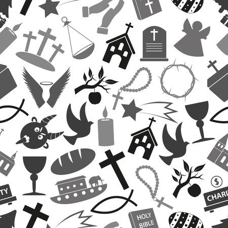 christianity religion symbols grayscale seamless pattern eps10 Ilustração
