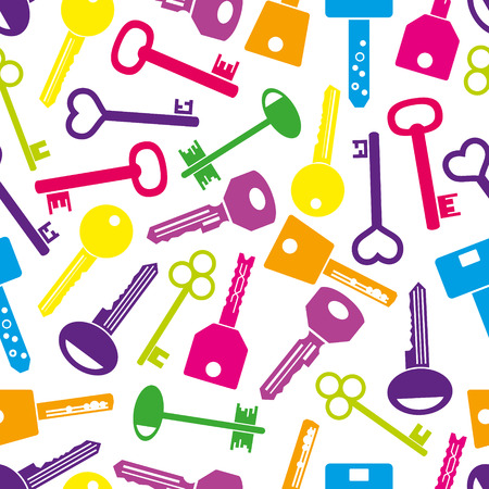 locksmith: various color keys icons seamless pattern eps10