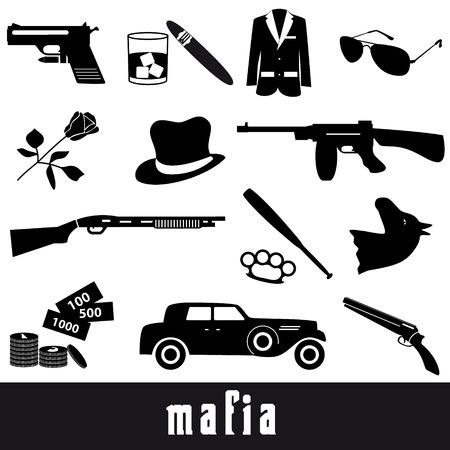 criminal: mafia criminal black symbols and icons set eps10