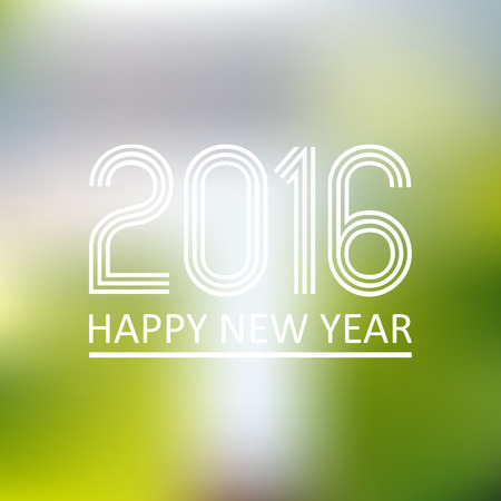 pf: happy new year 2016 on blur abstract background eps10