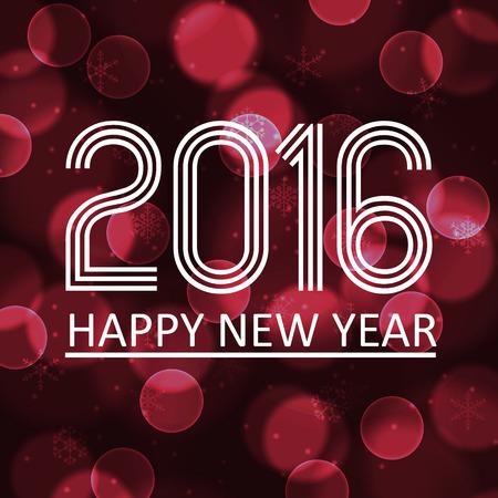 pf: happy new year 2016 on dark bokeh circle background eps10