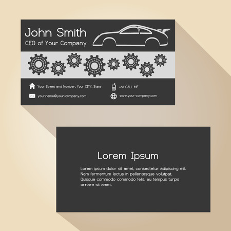 simple store: car store and mechanic garage simple business card design  eps10