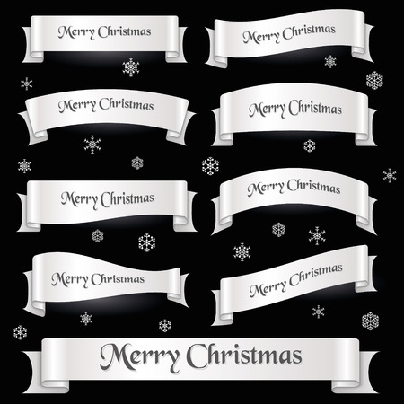 curved ribbon: white merry christmas curved ribbon Illustration