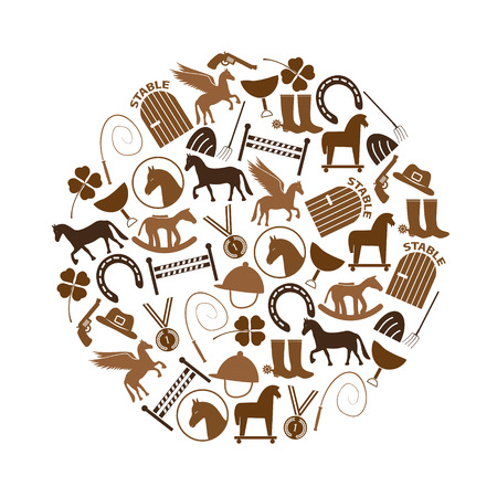 derby hats: brown simple horse theme icons set in circle