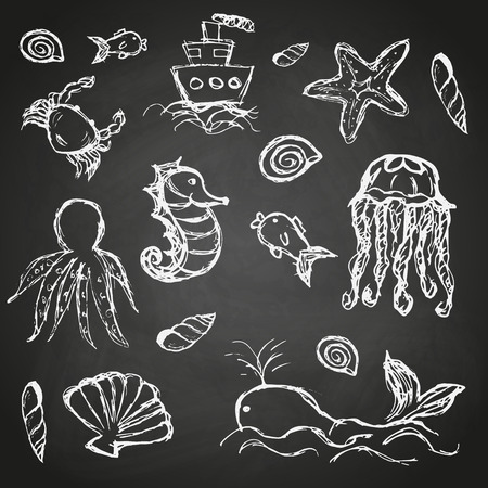 illustration of black fishbone: fish and sea life hand drawn doodle icons set on black board