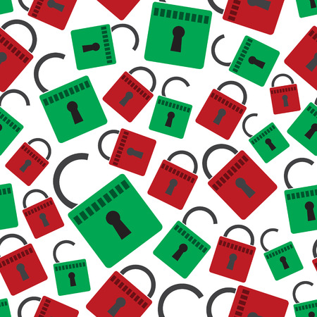 authorise: security red and green padlock seamless pattern