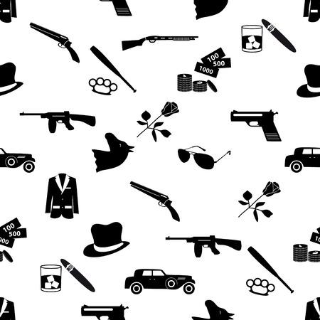 mafia criminal black symbols and icons seamless pattern